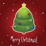 Cartolina di Natale con l'albero ed i fiocchi di neve decorati Illustrazione di Stock
