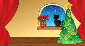 Cartolina di Natale con l'albero ed il gatto Fotografia Stock Libera da Diritti