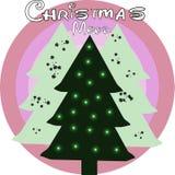Cartolina di Natale con l'albero di natale tre nel colore rosa illustrazione vettoriale