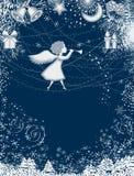 Cartolina di Natale con l'angelo Fotografie Stock Libere da Diritti
