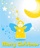 Cartolina di Natale con l'angelo divertente e la luna Fotografia Stock Libera da Diritti