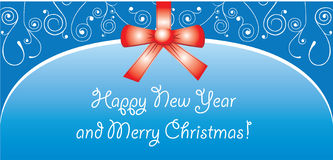 Cartolina di Natale con l'arco Immagini Stock Libere da Diritti