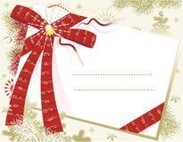 Cartolina di Natale con l'arco rosso Fotografia Stock Libera da Diritti