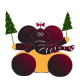Cartolina di Natale con l'elefante Fotografia Stock