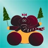 Cartolina di Natale con l'elefante Immagine Stock Libera da Diritti