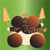 Cartolina di Natale con l'elefante Fotografia Stock Libera da Diritti
