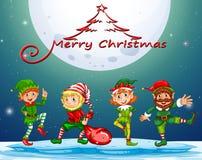 Cartolina di Natale con l'elfo su fullmoon Immagine Stock Libera da Diritti