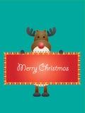 Cartolina di Natale con l'illustrazione di vettore dei cervi Immagini Stock Libere da Diritti