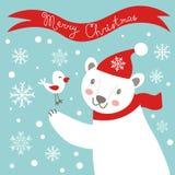Cartolina di Natale con l'orso bianco Fotografia Stock