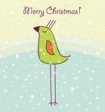 Cartolina di Natale con l'uccello felice Fotografia Stock Libera da Diritti