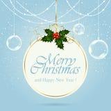 Cartolina di Natale con la bacca dell'agrifoglio Immagini Stock