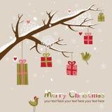 Cartolina di Natale con la bella filiale Fotografia Stock