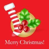 Cartolina di Natale con la calza ed il vischio di natale Immagine Stock Libera da Diritti