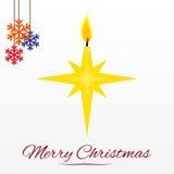 Cartolina di Natale con la candela della stella Fotografia Stock
