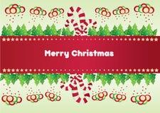 Cartolina di Natale con la caramella Fotografie Stock