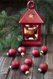 Cartolina di Natale con la composizione in festa Fotografie Stock