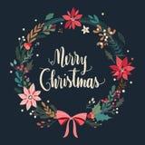Cartolina di Natale con la corona floreale Fotografia Stock