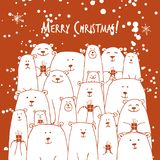 Cartolina di Natale con la famiglia degli orsi bianchi illustrazione di stock