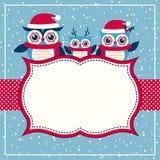 Cartolina di Natale con la famiglia dei gufi Fotografia Stock
