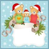 Cartolina di Natale con la famiglia dell'orsacchiotto royalty illustrazione gratis