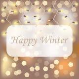 Cartolina di Natale con la ghirlanda decorativa delle luci ed il fondo vago illustrazione di stock