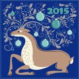 Cartolina di Natale con la renna Fotografia Stock