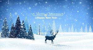 Cartolina di Natale con la renna Immagini Stock Libere da Diritti