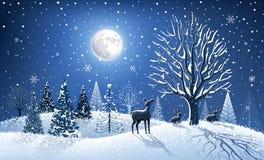 Cartolina di Natale con la renna Immagini Stock