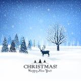 Cartolina di Natale con la renna Fotografia Stock Libera da Diritti