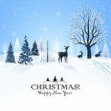 Cartolina di Natale con la renna Fotografie Stock Libere da Diritti