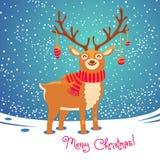 Cartolina di Natale con la renna Cervi svegli del fumetto Fotografia Stock Libera da Diritti