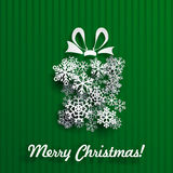 Cartolina di Natale con la scatola di regalo di fiocchi di neve Fotografia Stock Libera da Diritti