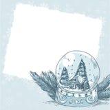Cartolina di natale con la sfera di vetro con i fiocchi di neve Fotografia Stock