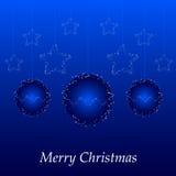 Cartolina di Natale con la sfera e le stelle blu Fotografia Stock Libera da Diritti