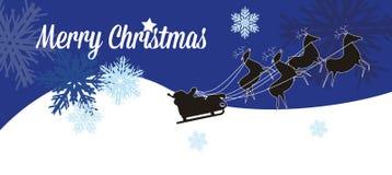 Cartolina di Natale con la slitta di Santa Claus fotografia stock libera da diritti