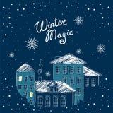 Cartolina di Natale con le case di notte Scheda di vettore Fotografie Stock