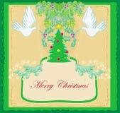 Cartolina di Natale con le colombe ed il vischio Immagine Stock