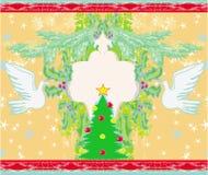 Cartolina di Natale con le colombe ed il vischio Immagini Stock