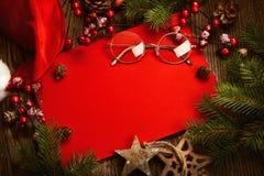 Cartolina di Natale con le decorazioni Fotografie Stock Libere da Diritti
