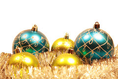 Cartolina di Natale con le decorazioni dell'natale-albero Immagini Stock