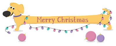 Cartolina di Natale con le luci del bassotto tedesco e di Natale del cane giallo del fumetto Immagine Stock Libera da Diritti