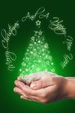 Cartolina di Natale con le mani di un bambino nel verde Immagini Stock Libere da Diritti