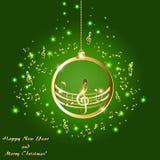 Cartolina di Natale con le note musicali dorate su un fondo verde illustrazione vettoriale
