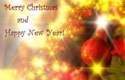 Cartolina di Natale con le palle di natale Fotografia Stock