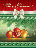 Cartolina di Natale 2015 con le palle Fotografie Stock Libere da Diritti