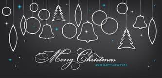 Cartolina di Natale con le palle d'argento brillanti astratte di natale Fotografia Stock