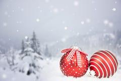 Cartolina di Natale con le palle di Natale e gli alberi nevosi Fotografie Stock