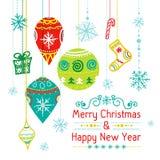 Cartolina di Natale con le palle di natale, vettore Immagine Stock Libera da Diritti
