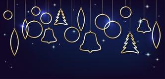 Cartolina di Natale con le palle dorate brillanti astratte di natale Immagini Stock Libere da Diritti