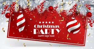 Cartolina di Natale con le sfere Immagini Stock Libere da Diritti